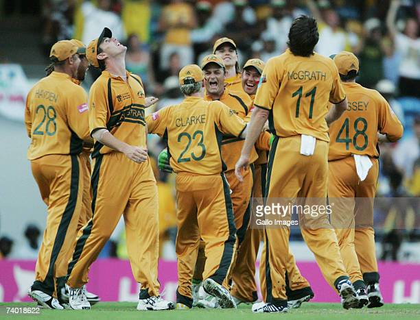Australia celebrates another dismissal during the 2007 Cricket World Cup Final between Sri Lanka and Australia on April 28 2007 in Bridgetown Barbados