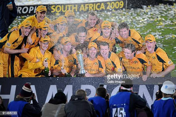 Australia celebrates during the ICC Champions Trophy final match between Australia and New Zealand from SuperSport Park on October 5 2009 in...