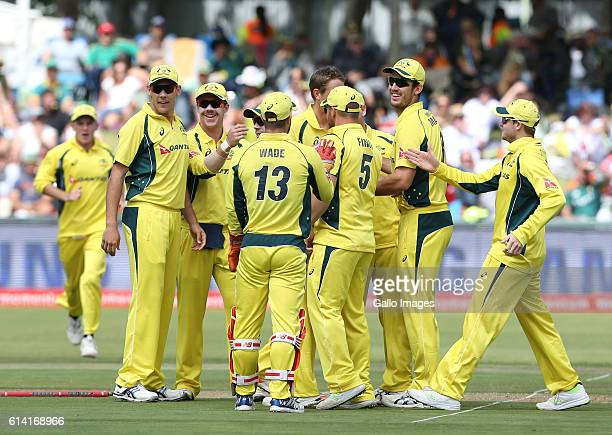 Australia celebrates the wicket of Hashim Amla of the Proteas during the Momentum ODI Series 5th ODI match between South Africa and Australia at PPC...