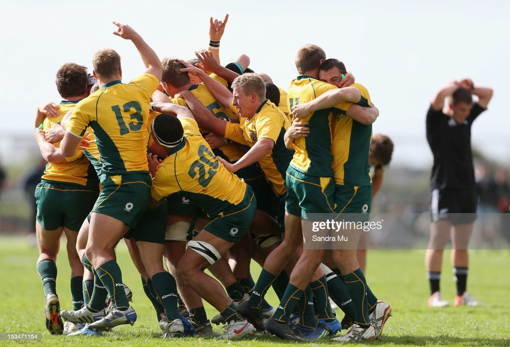 Australia celebrates their win during the Test between New Zealand Schools and Australia Schools at Auckland Grammar on October 6, 2012 in Auckland, New Zealand.