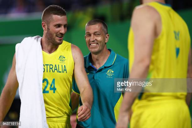Australia coach Andrej Lemanis smiles during the Preliminary Basketball round match between Australia and Nigeria on day five of the Gold Coast 2018...