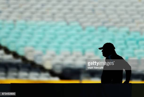 Australia Coach Ange Postecoglou looks on during an Australia Socceroos training session at ANZ Stadium ahead of their World Cup 2018 qualifying...