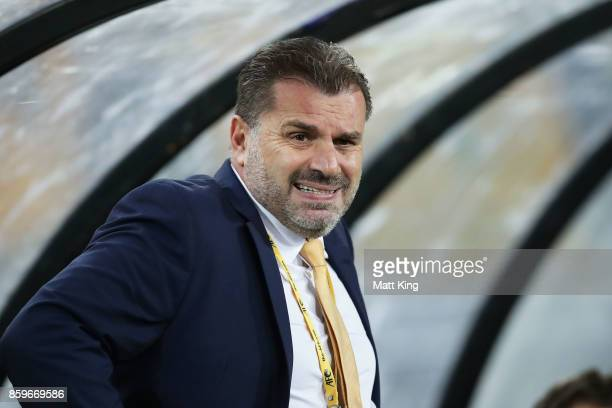 Australia Coach Ange Postecoglou looks on during the 2018 FIFA World Cup Asian Playoff match between the Australian Socceroos and Syria at ANZ...