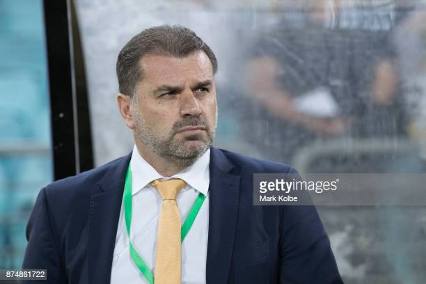 Australia Coach Ange Postecoglou watches on from the sideline before the 2018 FIFA World Cup Qualifiers Leg 2 match between the Australian Socceroos...