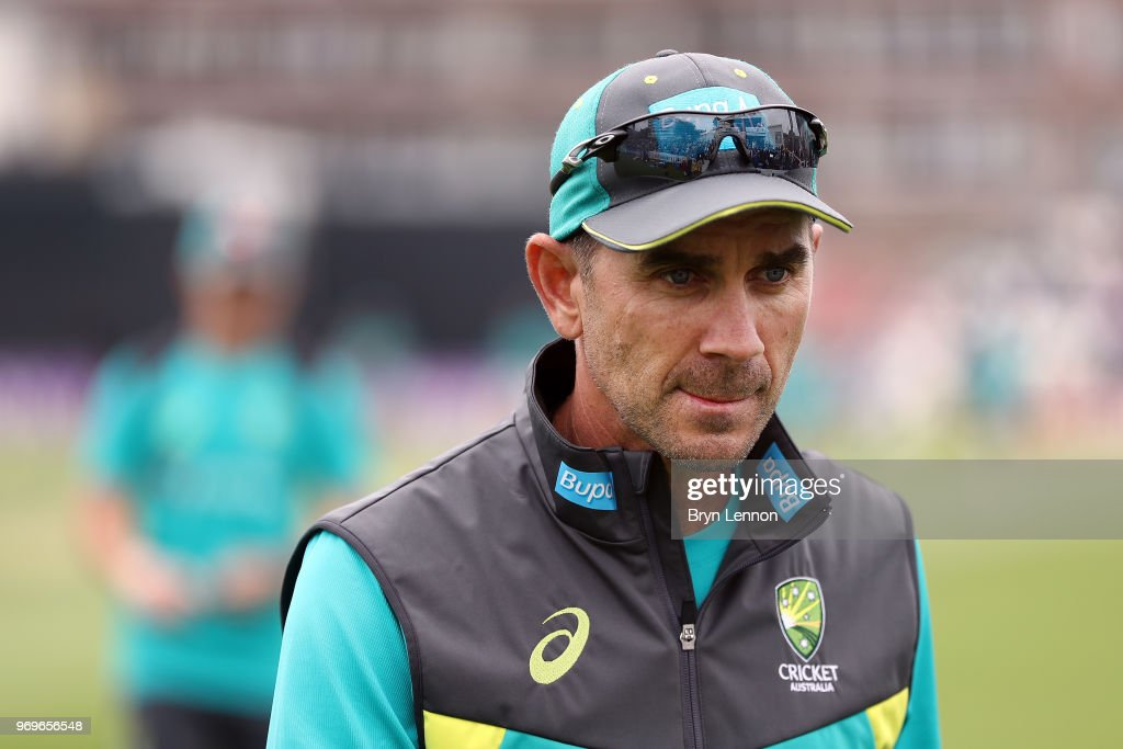 Australia Coach Justin Langer looks on prior to the one day tour match between Sussex and Australia at The 1st Central County Ground on June 7, 2018 in Hove, England.