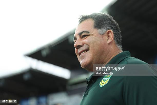 Australia coach Mal Meninga is interviewed during the 2017 Rugby League World Cup Quarter Final match between Australia and Samoa at Darwin Stadium...