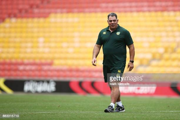 Australia coach Mal Meninga looks on during an Australian Kangaroos training session at Suncorp Stadium on December 1 2017 in Brisbane Australia