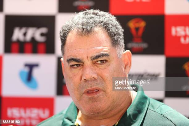 Australia coach Mal Meninga talks to media before an Australian Kangaroos training session at Suncorp Stadium on December 1 2017 in Brisbane Australia