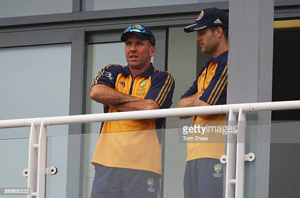 Australia Coach Tim Nielsen looks on from the team balcony with Simon Katich during day three of the npower 1st Ashes Test Match between England and...