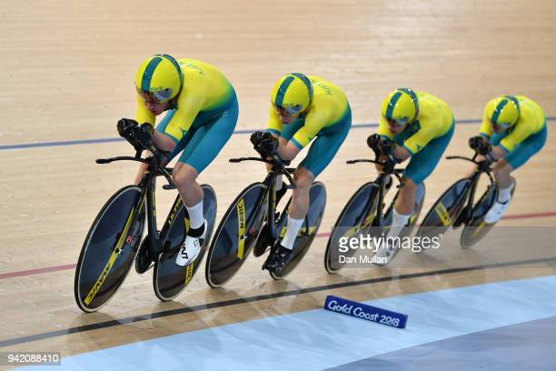 Australia compete in the Cycling Track Men's 4000m Team Pursuit on day one of the Gold Coast 2018 Commonwealth Games at the Anna Meares Velodrome on...