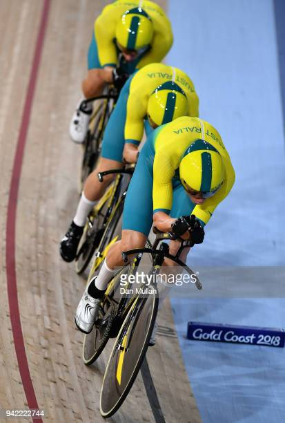 Australia compete in the Men's 4000m Team Pursuit Gold Final during the Cycling on day one of the Gold Coast 2018 Commonwealth Games at Anna Meares...