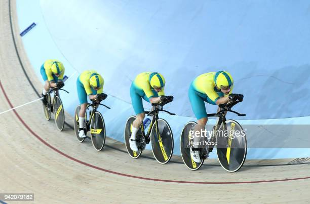 Australia compete in the Men's 4000m Team Pursuit Qualifying during the Cycling on day one of the Gold Coast 2018 Commonwealth Games at Anna Meares...