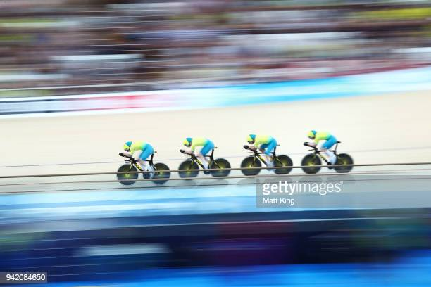 Australia compete in the Men's 4000m Team Pursuit Qualifying during the Track Cycling on day one of the Gold Coast 2018 Commonwealth Games at Anna...