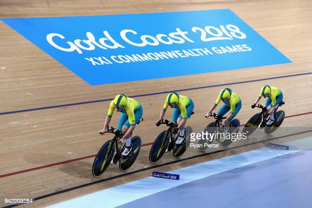 Australia compete in the Women's 4000m Team Pursuit Gold Final during the Cycling on day one of the Gold Coast 2018 Commonwealth Games at Anna Meares...