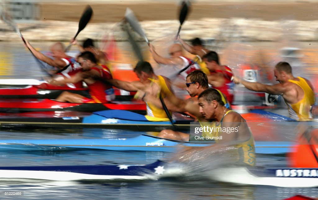 Australia competes during the men's K-2 class 500 metre semifinal on August 26, 2004 during the Athens 2004 Summer Olympic Games at the Schinias Olympic Rowing and Canoeing Centre in Athens, Greece.