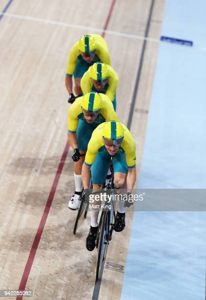 Australia competes in the Men's 4000m Team Pursuit Final during the Track Cycling on day one of the Gold Coast 2018 Commonwealth Games at Anna Meares...