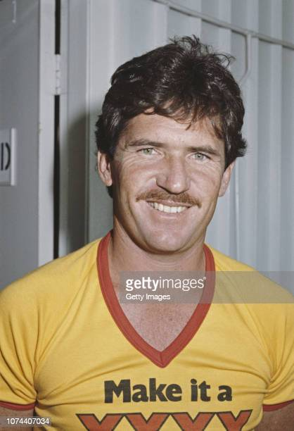 Australia Cricket batsman Allan Border pictured wearing a 'Make it a XXXX' TShirt circa 1979
