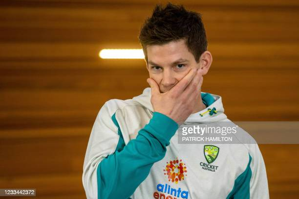 Australia cricket team captain Tim Paine gestures at a press conference to discuss his preparation to defend the Ashes against England this summer,...