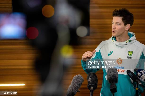 Australia cricket team captain Tim Paine speaks at a press conference to discuss his preparation to defend the Ashes against England this summer, at...