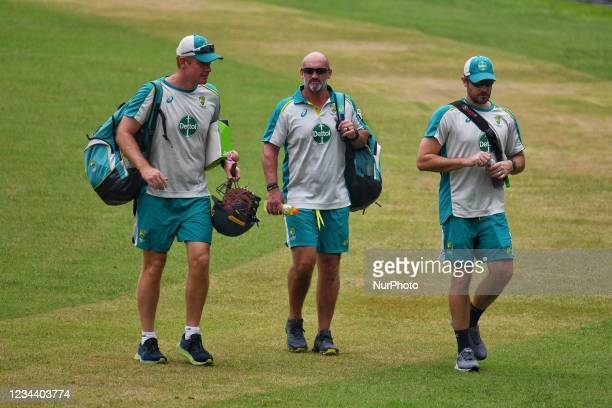 Australia Cricket Team coaching staff during practice session at Sher e Bangla National Cricket Stadium in Dhaka, Bangladesh on August 2, 2021. Ahead...