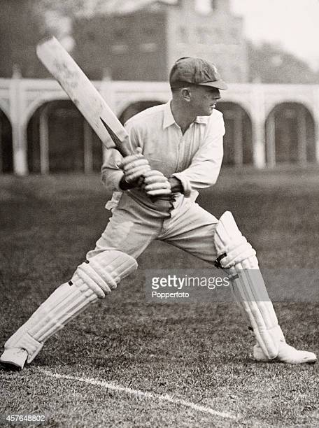Australia cricketer Charlie Macartney practicing at Lord's Cricket Ground in London, circa 1921.