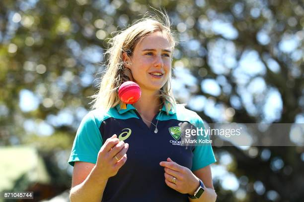 Australia cricketer Ellyse Perry poses after speaking to the media during the GovernorGeneral's XI Twenty20 media call at North Sydney Oval on...