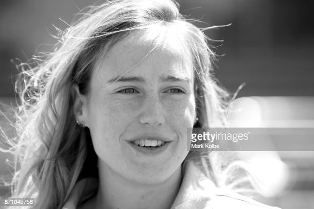 Australia cricketer Ellyse Perry speaks to the media during the GovernorGeneral's XI Twenty20 media call at North Sydney Oval on November 7 2017 in...