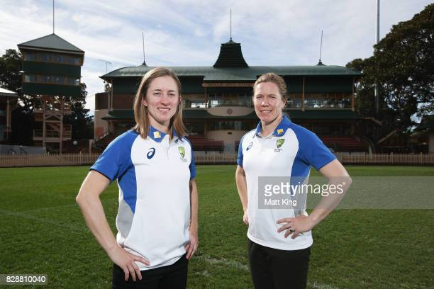 Australia cricketers Rachael Haynes and Alex Blackwell pose during the Cricket Australia Women's Ashes series ticket sale announcement at North...