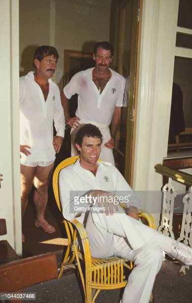 Australia cricketers Rodney Marsh Greg Chappell and Dennis Lillee pictured during their last test match together for Australia against Pakistan at...