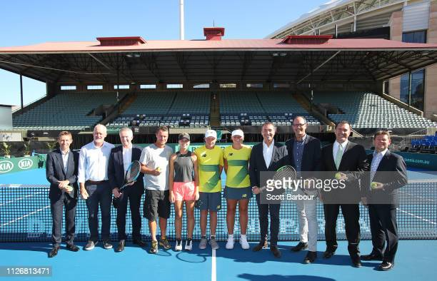 Australia Davis Cup captain Lleyton Hewitt Craig Tiley Tennis Australia CEO Tom Larner Tennis Australia CEO Kent Thiele Tennis SA CEO Steve Baldas...