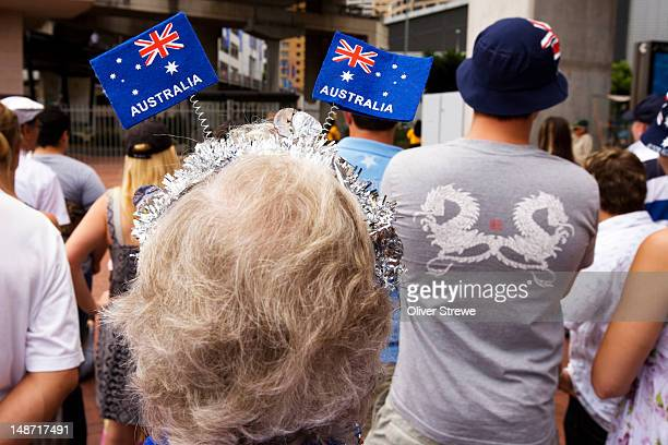 Australia Day, 26th January, hair decorations and crowd at Darling Harbour.