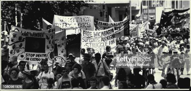Australia Day... Aboriginals March in Elizabeth St./In Hyde Park.Spectator - Tall Ships Leaves Harbour. January 26, 1988. .