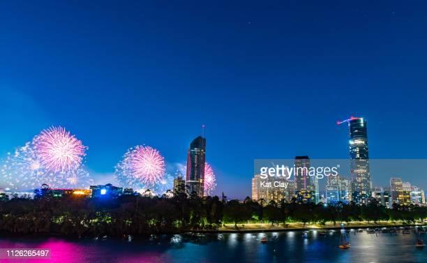 australia day fireworks, brisbane - australia day stock pictures, royalty-free photos & images