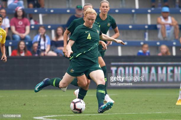 Australia defender Clare Polkinghorne kicks the ball in game action during a Tournament of Nations match between Brazil vs Australia on July 26 2018...