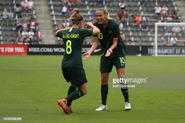 Australia defender Elise KellondKnight and midfielder Emily Van Egmond in the first half of a women's soccer match between Brazil and Australia in...