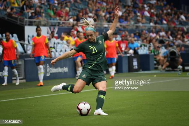Australia defender Ellie Carpenter centers the ball in the first half of a women's soccer match between Brazil and Australia in the 2018 Tournament...