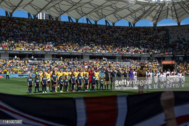 Australia during the national anthem at the International friendly soccer match between Matildas and Chile on November 09, 2019 at Bankwest Stadium...