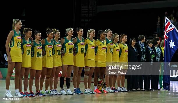 Australia during the National Anthems during the International Test Match between Australia and South Africa on August 27 2016 at Vector Arena...