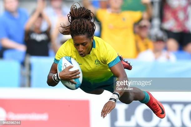 Australia Ellia Green score a try in the Women's Gold Medal Rugby Sevens Match between Australia and New Zealand on day 11 of the Gold Coast 2018...