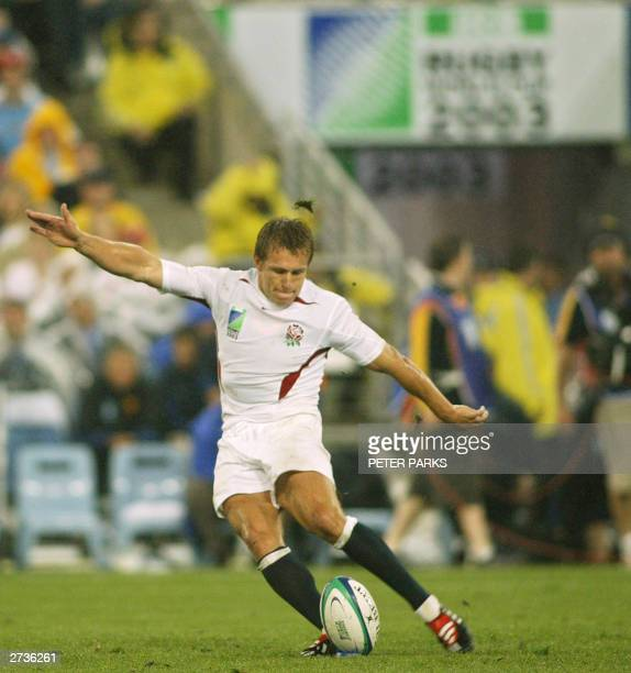 English fly-half Jonny Wilkinson kicks the ball during the Rugby World Cup semi-final match between France and England at the Olympic Park Stadium in...