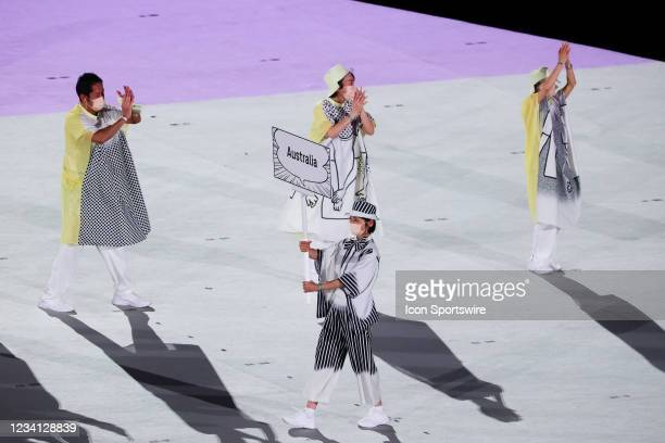 Australia enter the arena during the Opening Ceremony of the Tokyo 2020 Olympic Games at Olympic Stadium on July 23, 2021 in Tokyo, Japan.