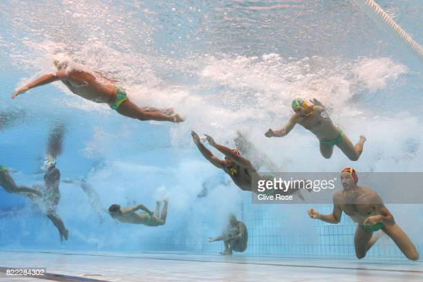 Australia enter the pool during the Men's Water Polo quarter final between Serbia and Australia on day twelve of the Budapest 2017 FINA World...