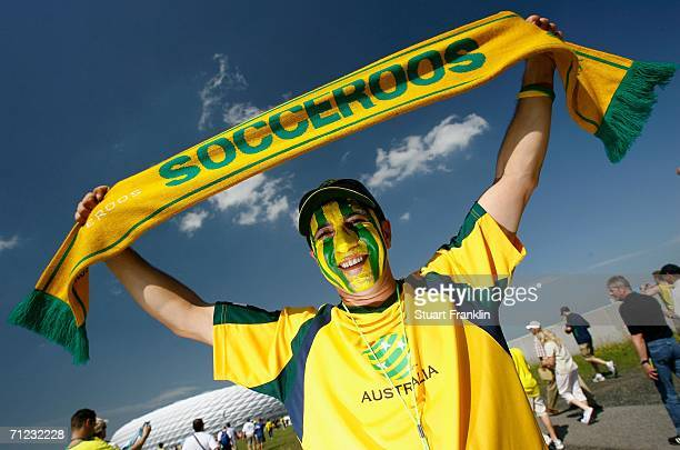 Australia fan shows their support prior to the FIFA World Cup Germany 2006 Group F match between Brazil and Australia at the Stadium Munich on June...