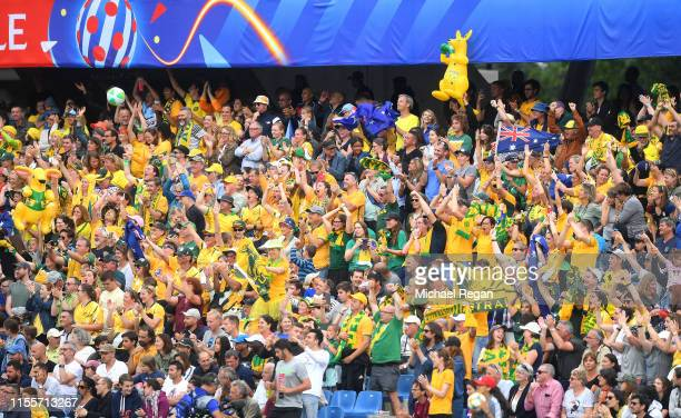 Australia fans celebrate after their team's second goal during the 2019 FIFA Women's World Cup France group C match between Australia and Brazil at...
