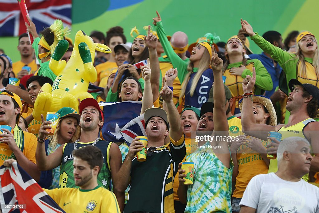 Australia fans cheer during rugby match between Australia and Spain on Day 2 of the Rio 2016 Olympic Games at Deodoro Stadium on August 7, 2016 in Rio de Janeiro, Brazil.
