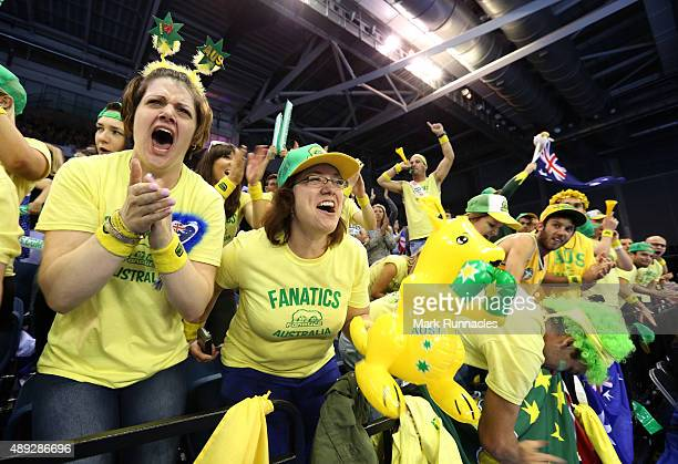 Australia fans cheer on the third day of the Davis Cup Semi Final 2015 between Great Britain and Australia at the Emirates Arena on September 20,...