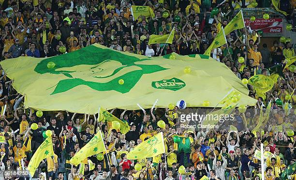 Australia fans cheer on their side during the second leg of the 2006 FIFA World Cup qualifying match between Australia and Uruguay at Telstra Stadium...