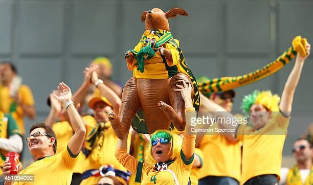Australia fans cheer prior to the 2014 FIFA World Cup Brazil Group B match between Australia and Spain at Arena da Baixada on June 23 2014 in...