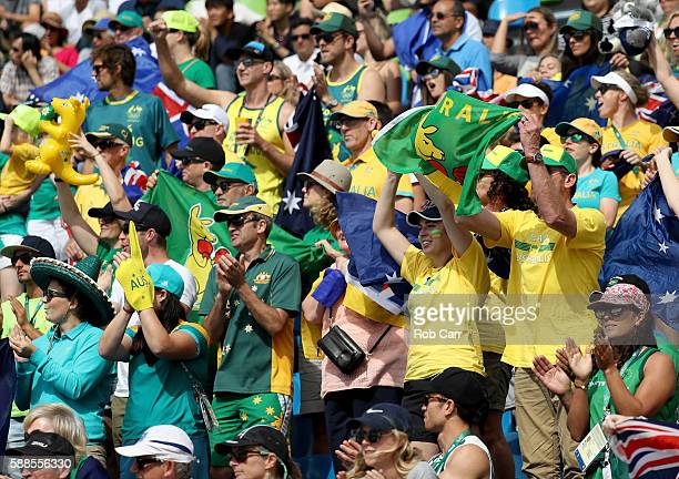 Australia fans cheers during the Women's Kayak Semifinal on Day 6 of the Rio 2016 Olympics at Whitewater Stadium on August 11 2016 in Rio de Janeiro...
