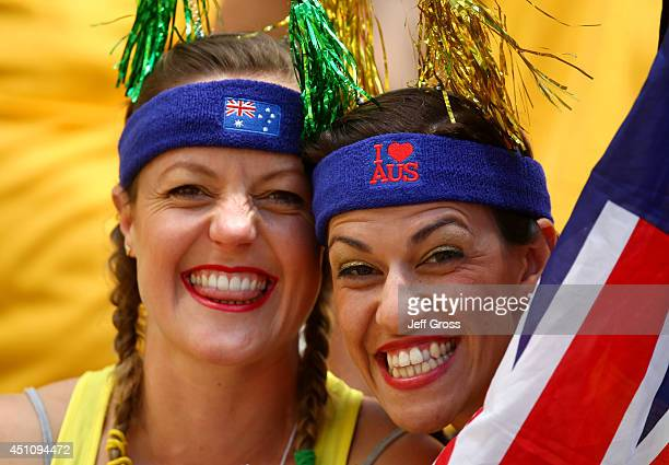 Australia fans enjoy the atmopshere prior to the 2014 FIFA World Cup Brazil Group B match between Australia and Spain at Arena da Baixada on June 23...